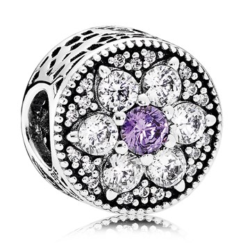 PANDORA Forget Me Not with Purple and Clear CZ Charm