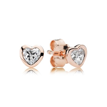 PANDORA Rose™ One Love with Clear CZ Stud Earrings RETIRED LIMITED QUANTITIES! 804-394