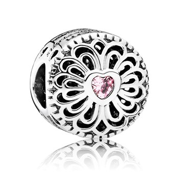 PANDORA Love & Friendship with Pink CZ Charm
