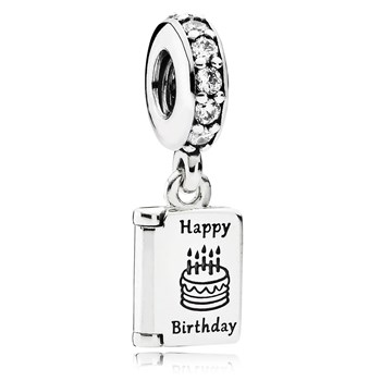 PANDORA Birthday Wishes with Clear CZ Dangle-802-3071