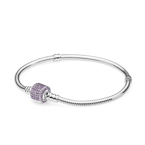 Pandora Signature Clasp With Fancy Purple Cz Bracelet
