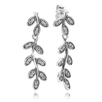 PANDORA Sparkling Leaves with Clear CZ Dangle Earrings-348116