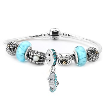 1183-PANDORA Happy Clam Charm Bracelet