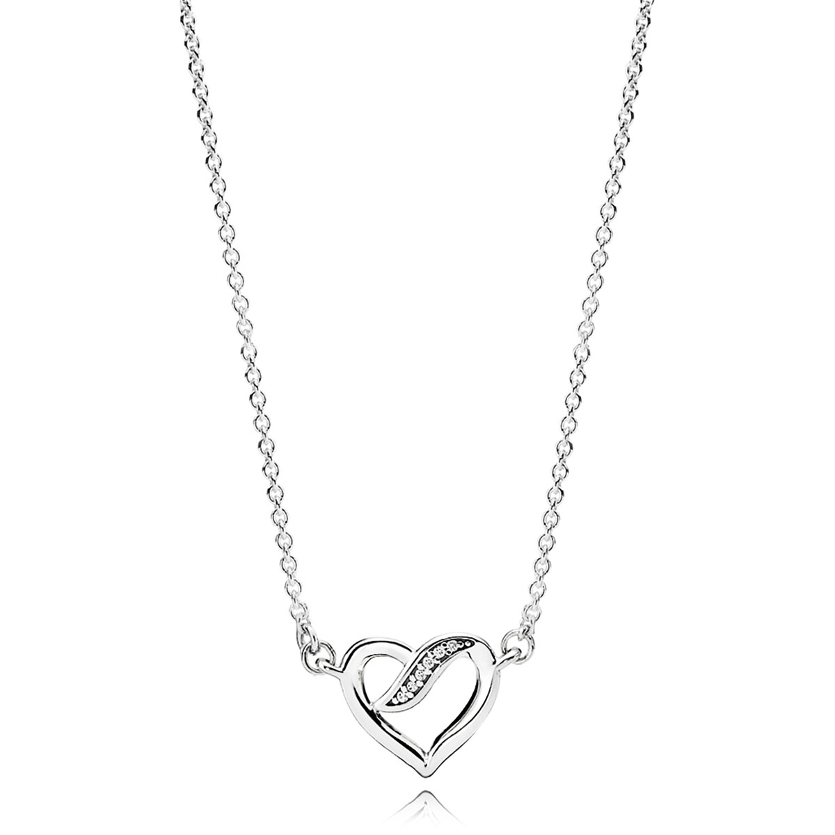 Pandora necklaces pancharmbracelets pandora ribbons of love clear cz necklace mozeypictures Image collections
