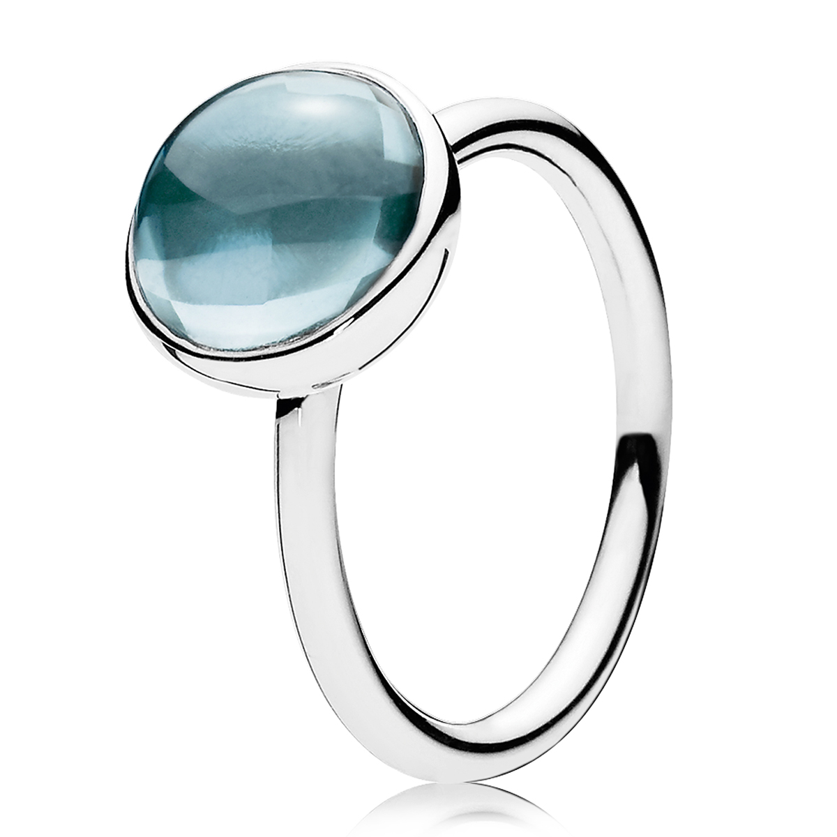 PANDORA Poetic Droplet Aqua Blue Ring
