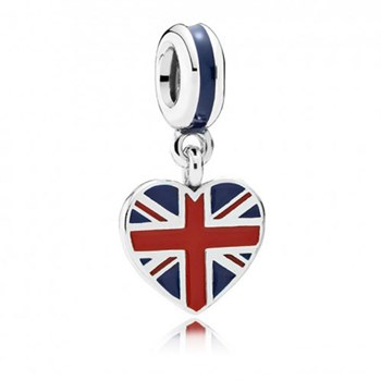 802-3008-PANDORA Great Britain Heart Flag with Enamel Dangle