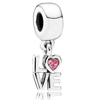 PANDORA LOVE with Pink CZ Dangle-345485