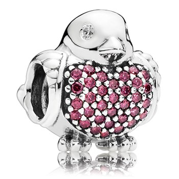 PANDORA Red Robin with Red and Clear CZ Charm RETIRED LIMITED QUANTITIES!