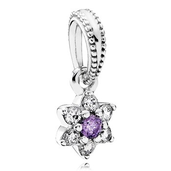 PANDORA Forget Me Not with Purple and Clear CZ Dangle