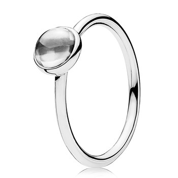 PANDORA Poetic Droplet Clear CZ Small Ring