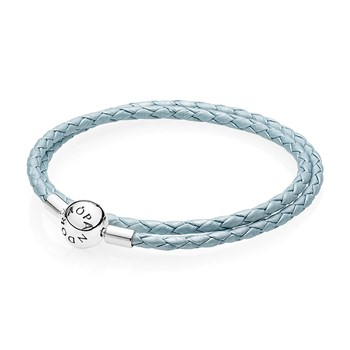 PANDORA Light Blue Double Braided Leather Bracelet RETIRED