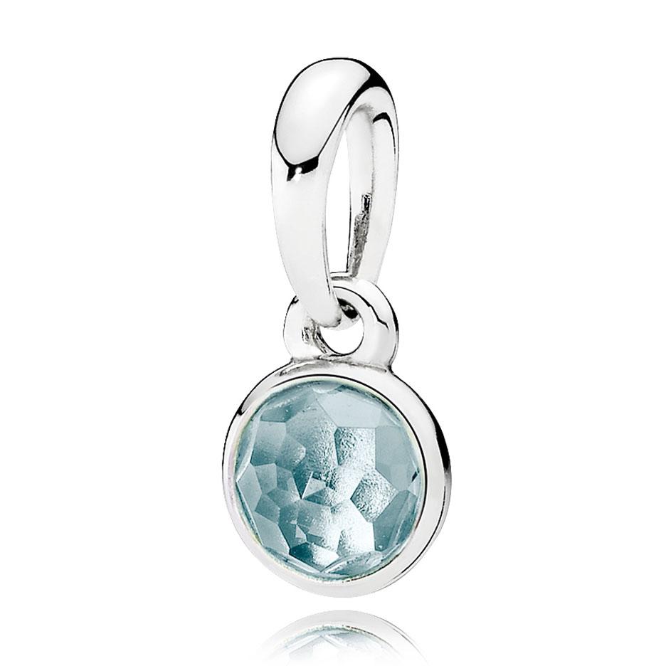 Pandora march droplet aqua blue crystal pendant pancharmbracelets mozeypictures Choice Image