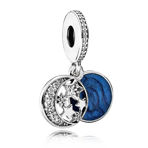 PANDORA Vintage Night Sky, Shimmering Midnight Blue Enamel & Clear CZ Dangle