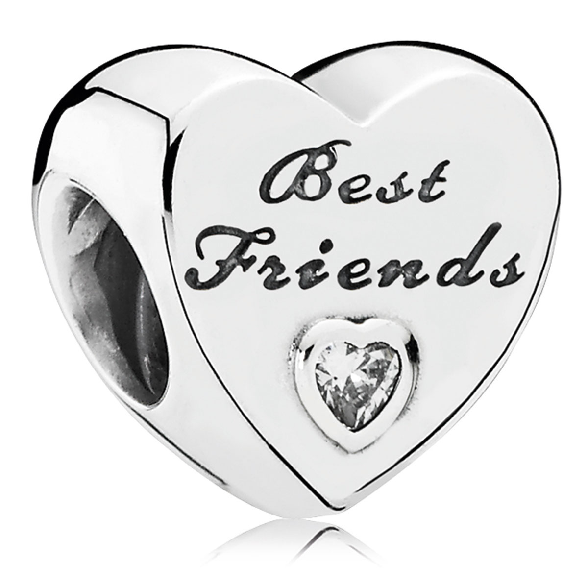 802-3079-PANDORA Friendship Heart with Clear CZ Charm