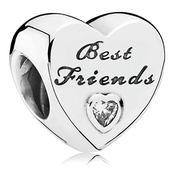 PANDORA Friendship Heart with Clear CZ Charm-802-3079