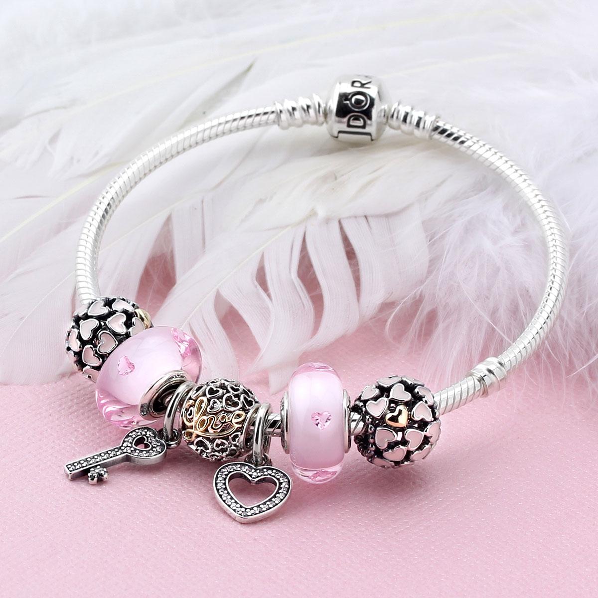 Kays Charm Bracelets: Pink Pandora Charm Bracelet ,kay Jewelers