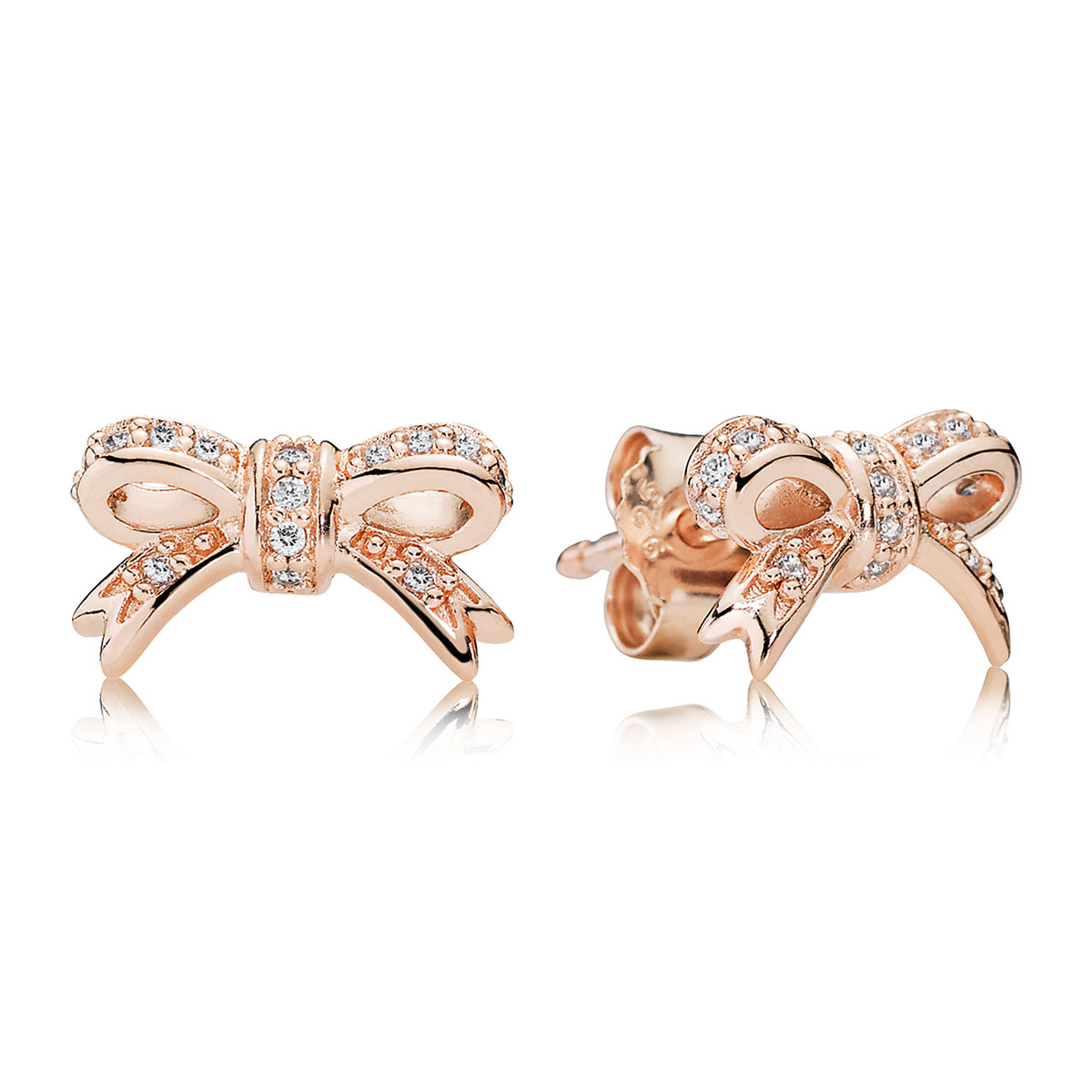Pandora Rose Sparkling Bow With Clear Cz Stud Earrings