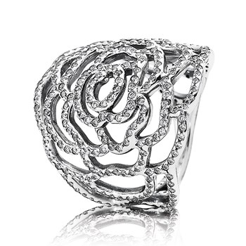 PANDORA Shimmering Rose with Clear CZ Ring RETIRED