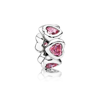PANDORA Space In My Heart with Pink CZ Spacer-345484