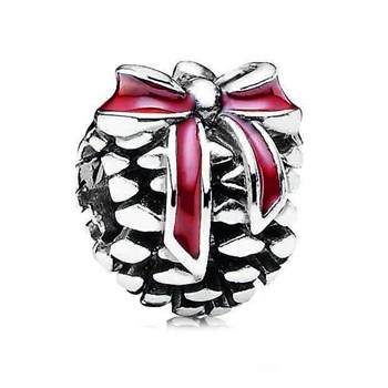 344375-PANDORA Pine Cone with Red Enamel Charm *PANDORA Store Exclusive* RETIRED