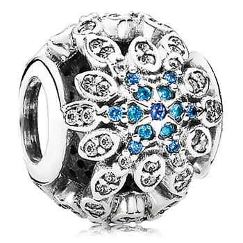 802-3128-PANDORA Crystalized Snowflake with Blue Crystals & Clear CZ Charm