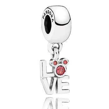 PANDORA Disney LOVE Mickey with Red CZ Dangle-802-1666 RETIRED