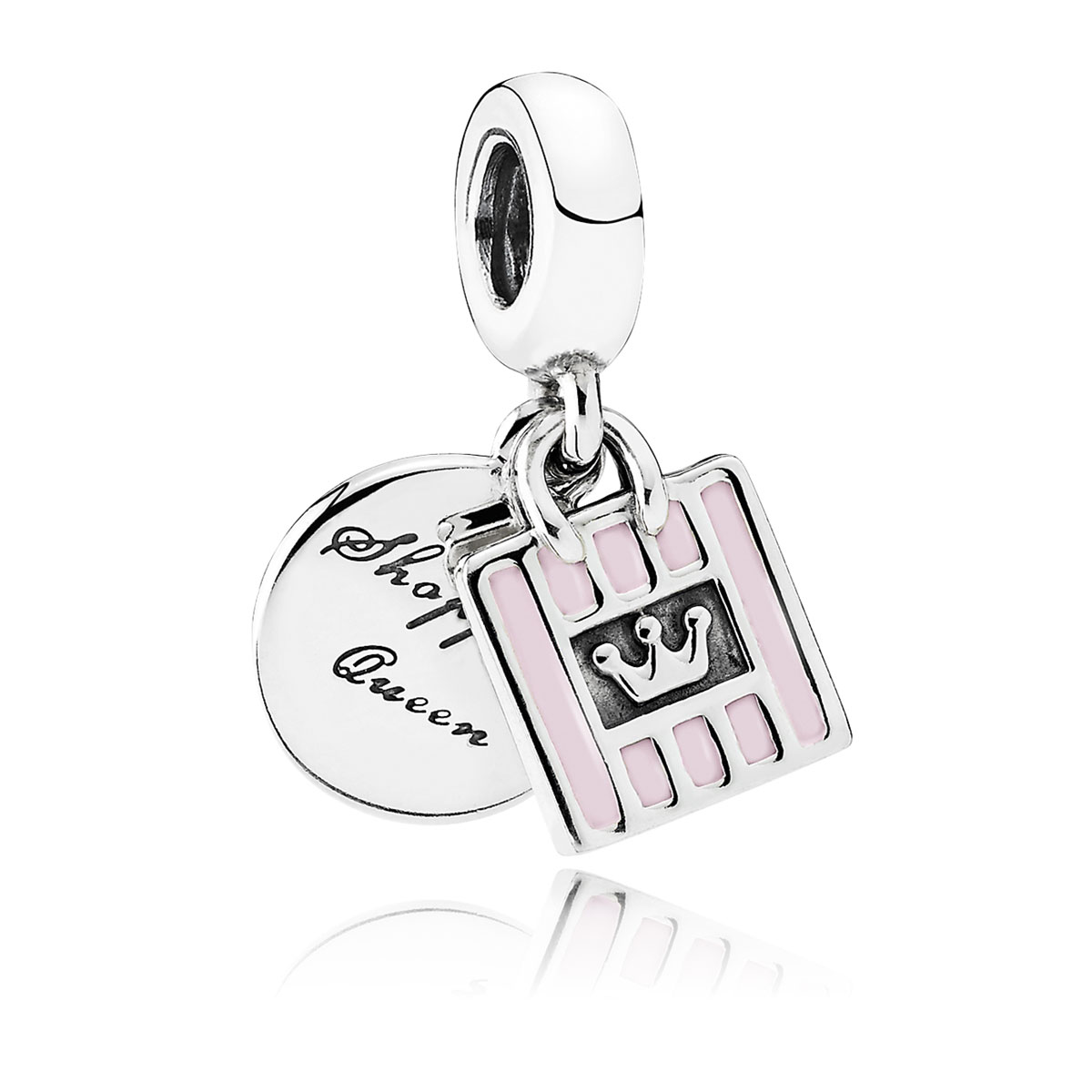 PANDORA Shopping Queen with Soft Pink Enamel Dangle