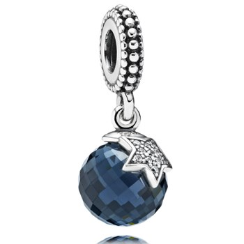 PANDORA Moon and Star with Clear CZ and Midnight Blue Crystal Dangle RETIRED ONLY 2 LEFT!