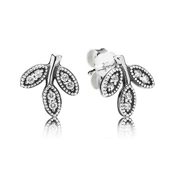 PANDORA Sparkling Leaves with Clear CZ Stud Earrings-348115