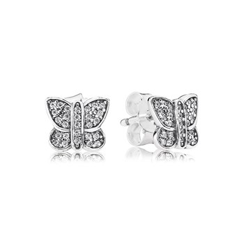 PANDORA Sparkling Butterfly with Clear CZ Stud Earrings-804-383