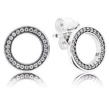 PANDORA Forever PANDORA with Clear CZ Stud Earrings-804-421