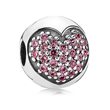 PANDORA Love of My Life Heart with Fancy Pink CZ Clip-342893