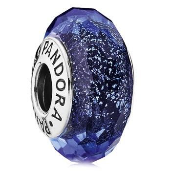 PANDORA Blue Fascinating Iridescence Faceted Murano Glass 802-3119