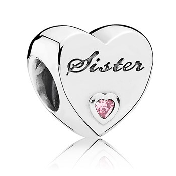 PANDORA Sister's Love with Pink CZ Charm