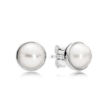 PANDORA Elegant Beauty with White Pearl Earrings