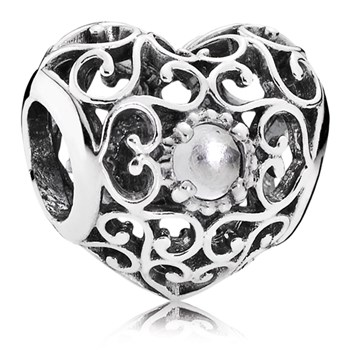 PANDORA April Signature Heart with Rock Crystal Charm-802-3106