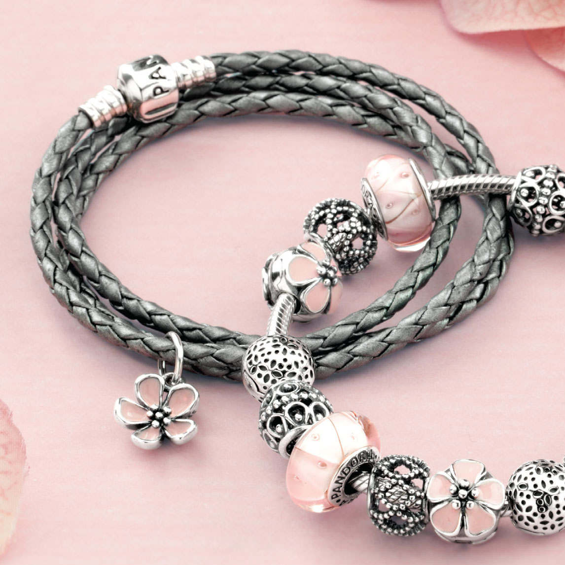 Pandora Cherry Blossom With Pink Enamel Stories Pendant Bracelet