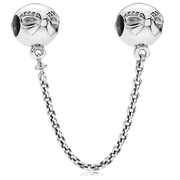 PANDORA Dainty Bow with Clear CZ Safety Chain-802-3142