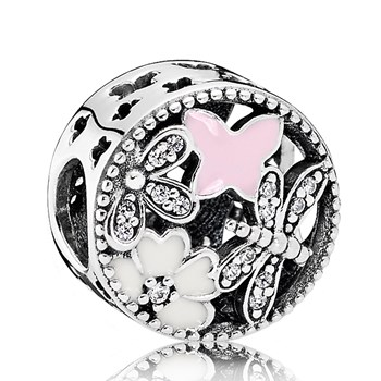 PANDORA Springtime with Enamel and Clear CZ Openwork Charm