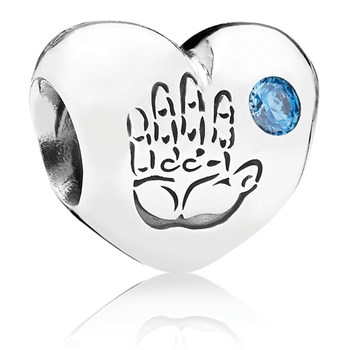 PANDORA Baby Boy Heart with Blue CZ Charm-346980