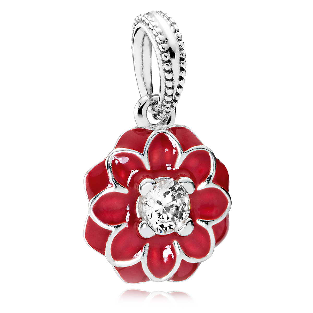 PANDORA Oriental Bloom with Red Enamel & Clear CZ Dangle