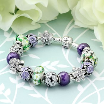 1259-PANDORA Spring's in Bloom Charm Bracelet