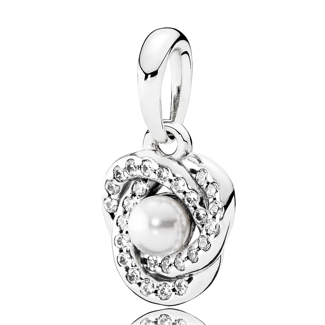 Pandora Luminous Love Knot, White Crystal Pearl & Clear Cz Pendant