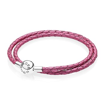 PANDORA Honeysuckle Pink Double Braided Leather Bracelet RETIRED
