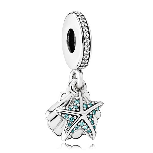 PANDORA Tropical Starfish & Sea Shell, Frosty Mint & Clear CZ Dangle Charm