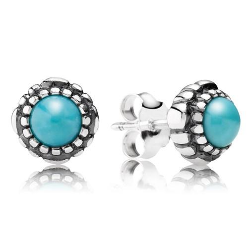 Pandora December Birthstone Earrings: PANDORA Turquoise December Birthday Bloom Stud Earrings