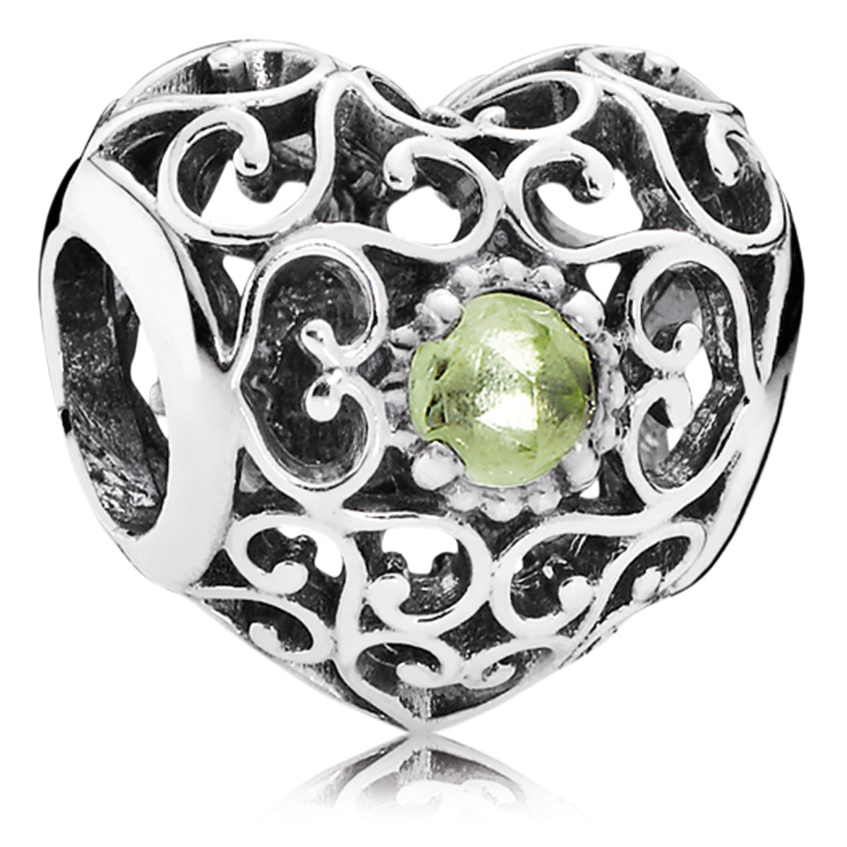 802-3105-PANDORA August Signature Heart with Peridot Charm *OUT OF STOCK*
