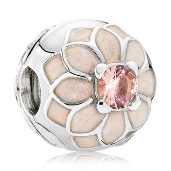 PANDORA Blooming Dahlia with Cream Enamel and Blush Pink Crystal Clip