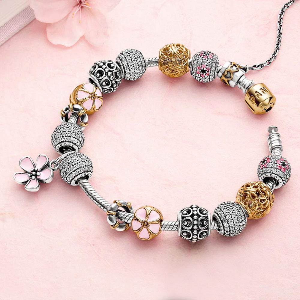 Bracelet Pendant Pandora pendants pancharmbracelets pandora cherry blossom with pink enamel stories pendant bracelet 2 audiocablefo