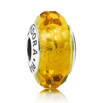 PANDORA Fascinating Ochre Faceted Murano Glass 348034